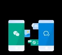 添加客户的微信,通过单聊、百人群聊,向客户提供服务,发表内容到客户的微信朋友圈,更有小程序、支付等能力。